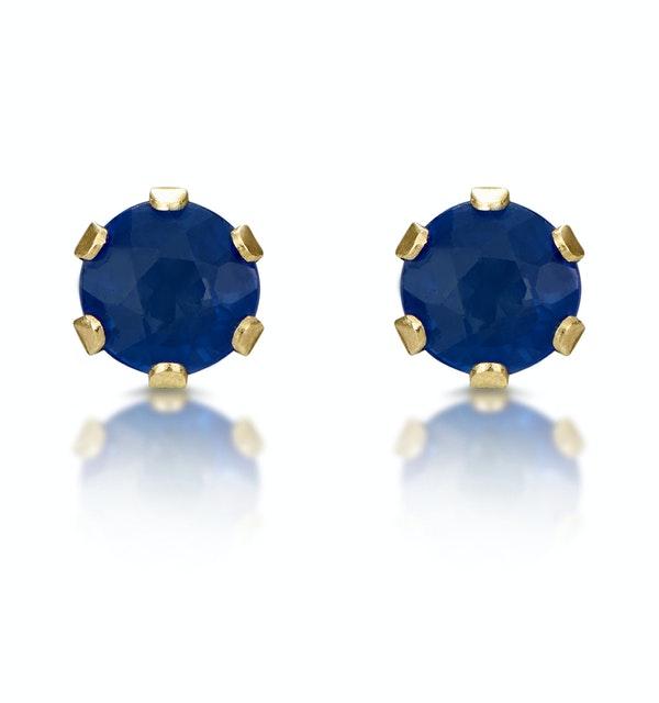 Sapphire 3mm 9K Yellow Gold Stud Earrings - image 1