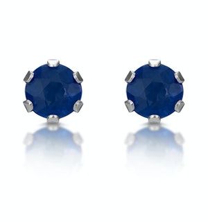 Sapphire 3mm 9K White Gold Stud Earrings
