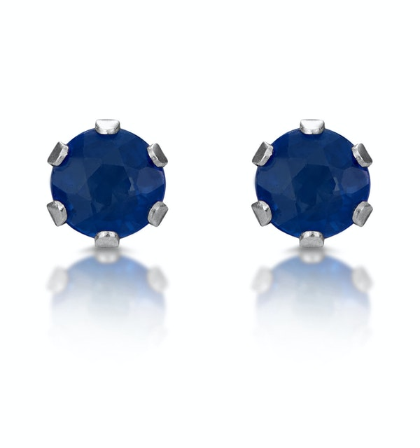 Sapphire 3mm 9K White Gold Stud Earrings - image 1