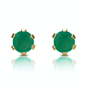 Emerald 3 x 3mm 9K Yellow Gold Stud Earrings