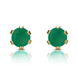 Emerald 3 x 3mm 9K Yellow Gold Stud Earrings