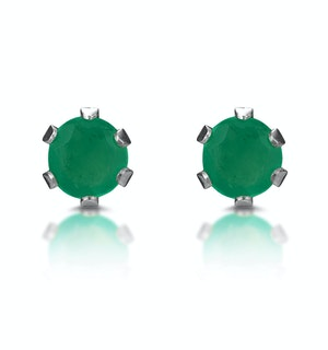 Emerald 3 x 3mm 9K White Gold Stud Earrings