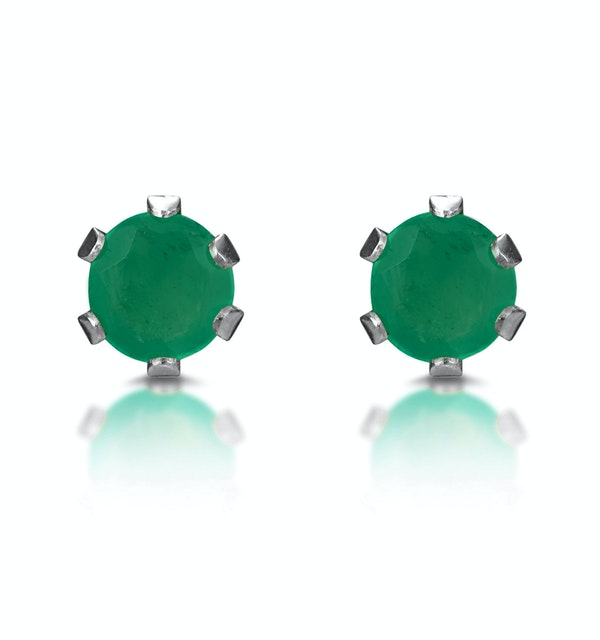 Emerald 3 x 3mm 9K White Gold Stud Earrings - image 1