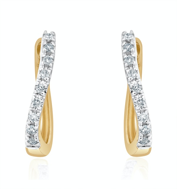 Hoop Earrings 0.11ct Diamond 9K Gold - image 1
