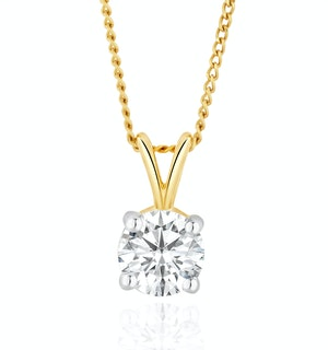 Lab Diamond Solitaire Pendant Necklace 0.50ct H/Si in 9K Gold