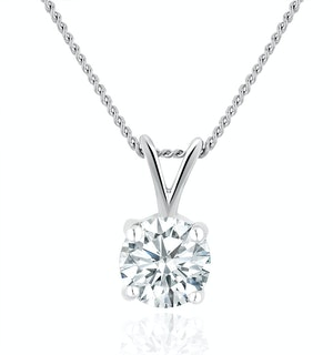 Lab Diamond Solitaire Pendant Necklace 0.50ct H/Si in 9K White Gold