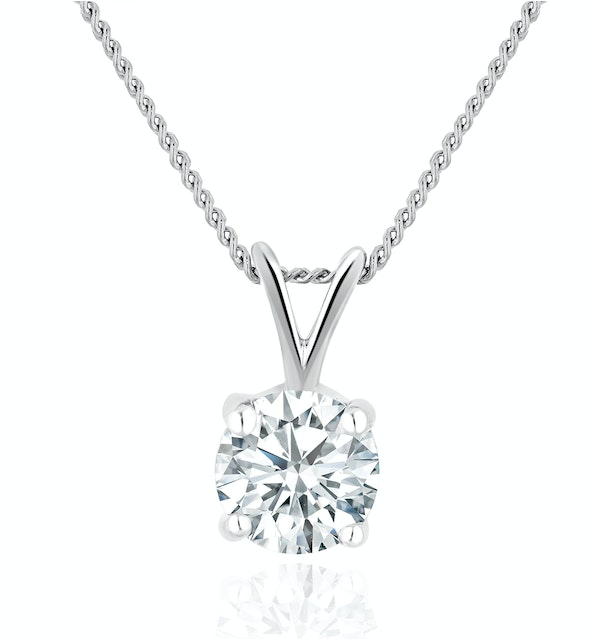 Lab Diamond Solitaire Pendant Necklace 0.50ct H/Si in 9K White Gold - image 1