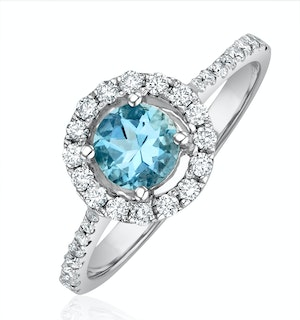 Halo Aquamarine 0.50CT And Diamond 18K White Gold Ring