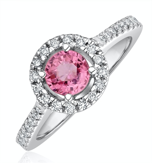 Halo 18K White Gold Diamond and Pink Sapphire Ring 0.36ct - image 1