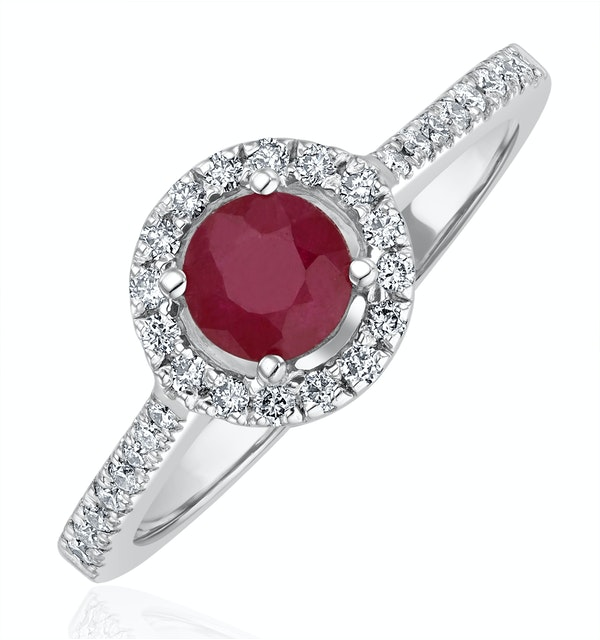 Halo Ruby 0.65ct And Diamond 18K White Gold Ring - image 1