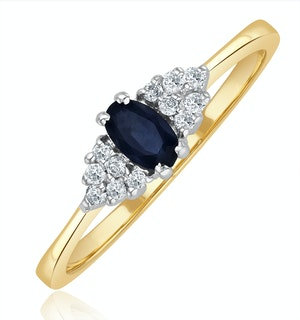 Sapphire 5 x 3mm And Diamond 9K Gold Ring  A3227