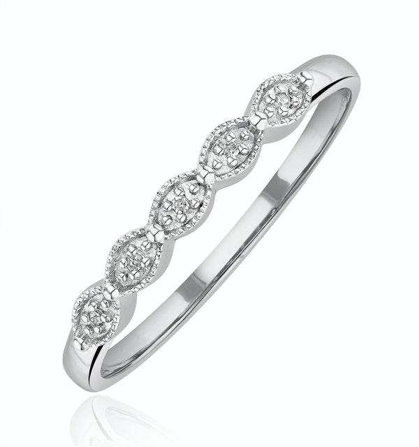 Diamond Wedding Ring 0.02CT Diamond 9K White Gold - image 1