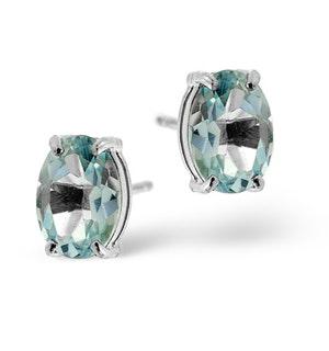 Blue Topaz 7x5mm 18K White Gold Earrings