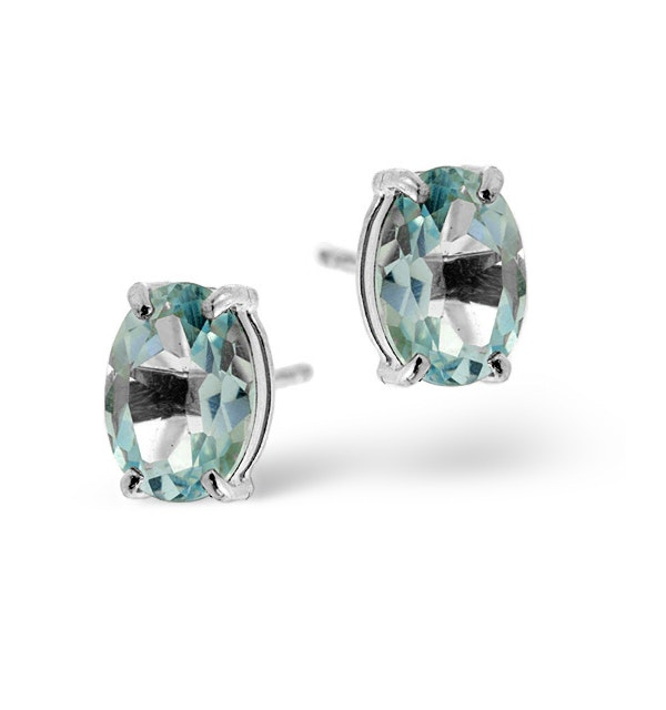 Blue Topaz 7x5mm 18K White Gold Earrings - image 1
