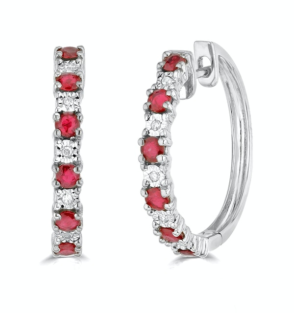 Stellato Ruby 0.86ct And Diamond 9K White Gold Earrings - image 1