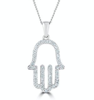Lab Diamond Hamsa Pendant Necklace 0.25ct 9K in White Gold