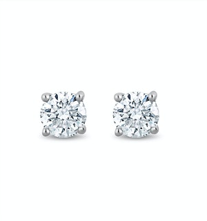 Lab Diamond Stud Earrings 0.10ct H/Si Quality in 9K White Gold - 2.4mm