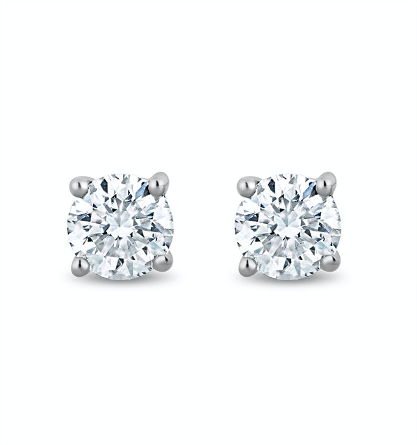 Lab Diamond Stud Earrings 0.20ct H/Si Quality in 9K White Gold - 3mm - image 1