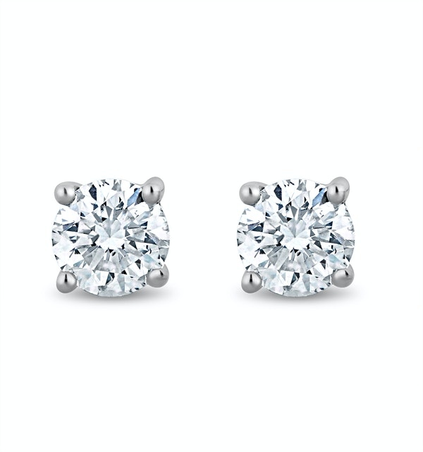 Lab Diamond Stud Earrings 0.30ct H/Si Quality in 9K White Gold - 3.6mm - image 1