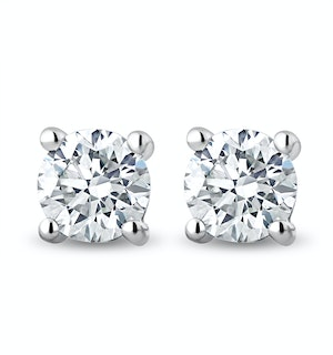 Lab Diamond Stud Earrings 1.00ct H/Si Quality in 9K White Gold - 5.2mm