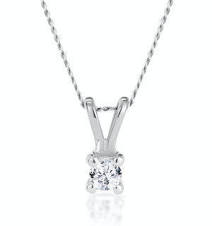 Diamond Solitaire Necklace 0.10CT Diamond 9K White Gold