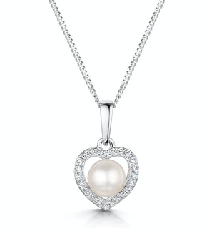 StellatoPearl and Diamond Pendant Necklace 0.06ct in 9K White Gold