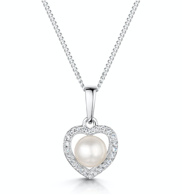 StellatoPearl and Diamond Pendant Necklace 0.06ct in 9K White Gold - image 1