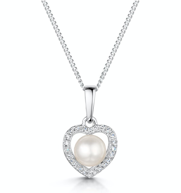 Stellato Collection Pearl and Diamond Pendant 0.06ct in 9K White Gold - image 1