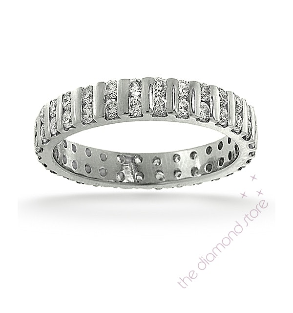 Mens 2ct H/Si Diamond 18K White Gold Full Band Ring Item IHG37-422JUY - image 1