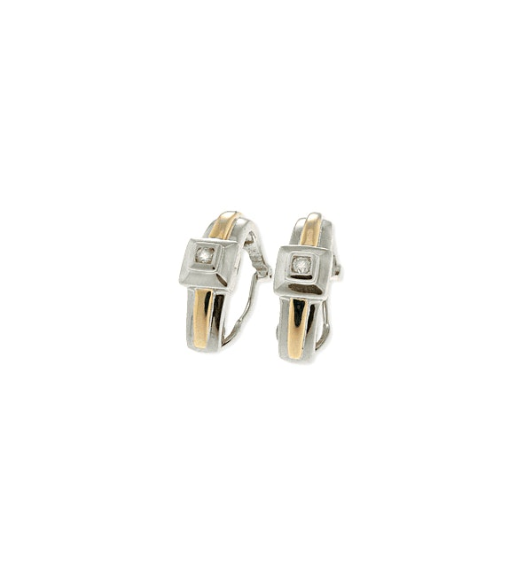 9K White Gold Diamond Earrings (0.11ct) - image 1