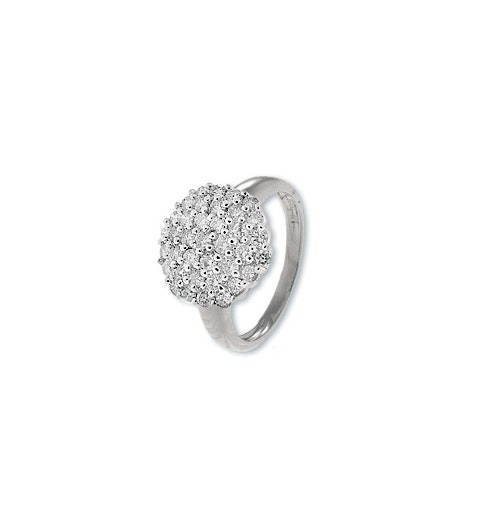 9K White Gold Diamond Cluster Ladies Ring (0.80ct) - image 1