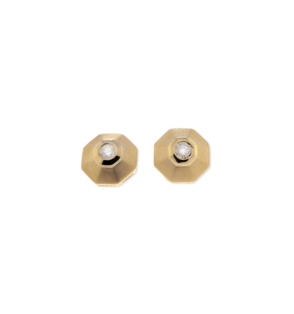 9K Gold Diamond Earrings (0.16ct) - image 1