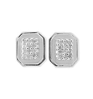 9K White Gold Diamond Pave Earrings (0.38ct)