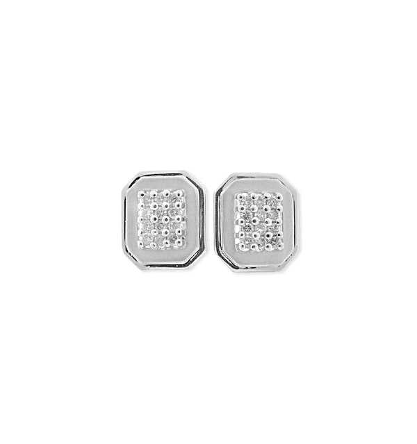 9K White Gold Diamond Pave Earrings (0.38ct) - image 1