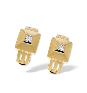 9K Gold Square Diamond Earrings (0.21ct)