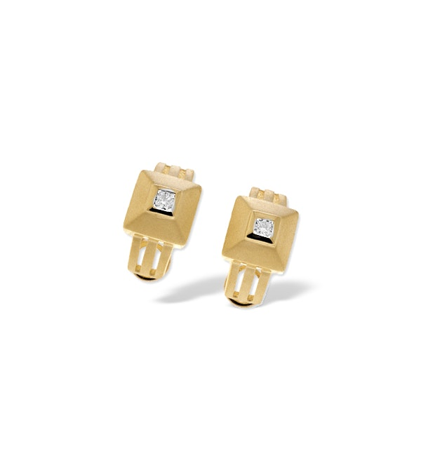 9K Gold Square Diamond Earrings (0.21ct) - image 1