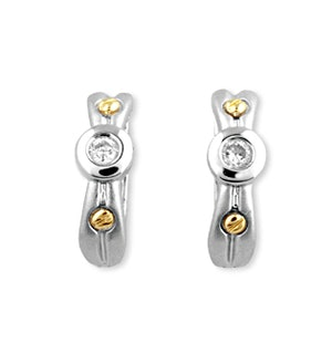 9K White Gold Diamond Earrings with Gold Detail