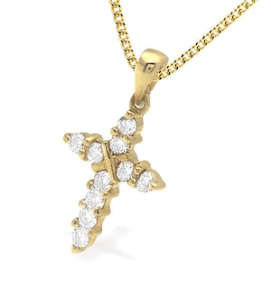 9K Gold Diamond Cross Pendant (0.21ct)