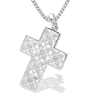 9K White Gold Intricate Design Diamond Cross Pendant