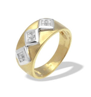 9K Gold Diamond Design Ring (0.18ct)