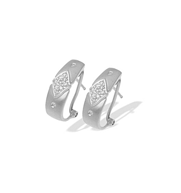 9K White Gold Diamond Design Earrings (0.20ct) - image 1