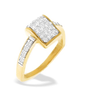 9K Gold Diamond Pave Wedge Ring