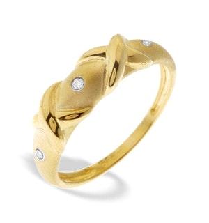 9K Gold Diamond Twist Detail Ring (0.03ct)