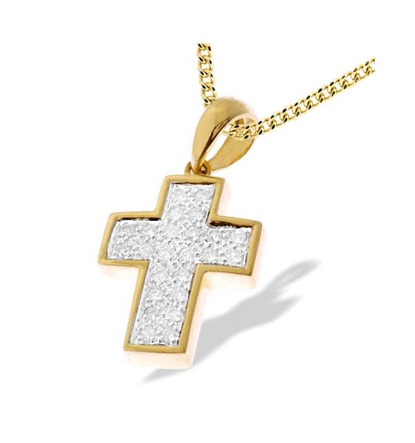 9K Gold Diamond Pave Cross Pendant - image 1