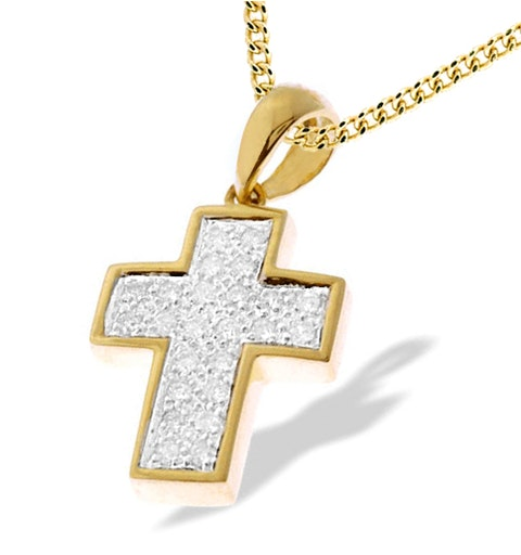 9K Gold Diamond Pave Cross Pendant - image 1