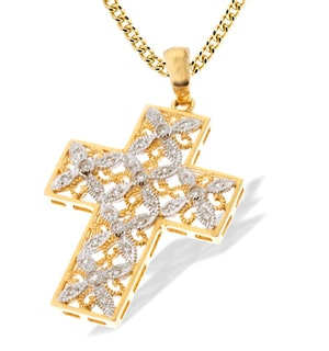 9K Gold Intricate Detail Diamond Cross Pendant (0.20ct)