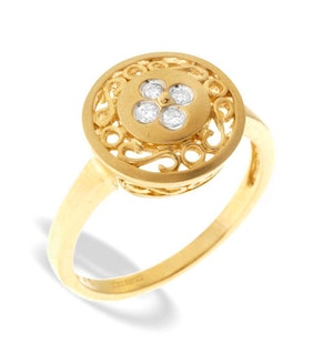 9K Gold Intricate Diamond Ring (0.07ct)