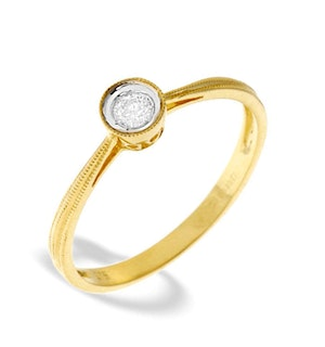 9K Gold Diamond Single Stone Ring (0.09CT)