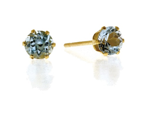 Round Cut Blue Topaz Earrings