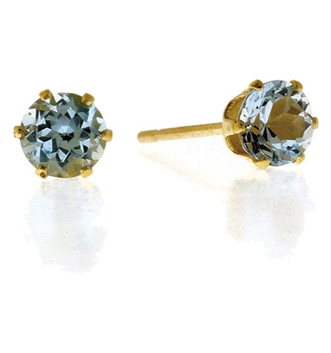 Blue Topaz 4mm 9K Yellow Gold Earrings - image 1